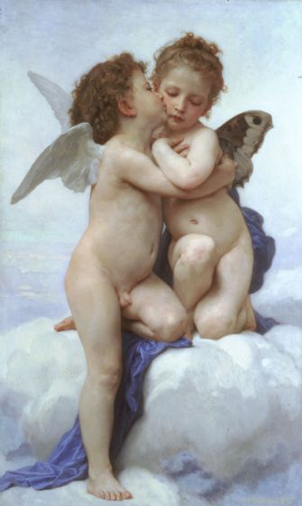 Bouguereau, William Adolphe: The First Kiss/Cupid and Psyche as Children. Fine Art Print/Poster. Sizes: A4/A3/A2/A1 (001619)